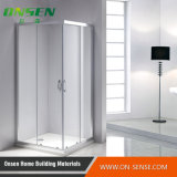 Cabine do chuveiro do quadrado da porta de duas dobradiças