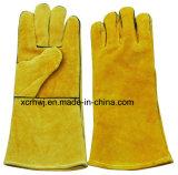 leverancier Van uitstekende kwaliteit van de Handschoenen van het Lassen van het Leer van de Koe van de Lengte van 35cm de Gespleten, de Rode Handschoenen van de Veiligheid van het Lassen, de Lange Werkende Handschoenen van het Leer, Fabriek van 14 de '' gevoerde Gele Handschoenen van het Lassen