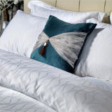 100% algodão Jacquard Quality White Bed Sheet Hotel Bedding Set