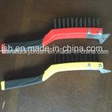 Escova de arame de aço de punho de plástico de 11 polegadas de duas cores (YY-538)
