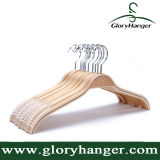연약한 Non-Slip 줄무늬를 가진 튼튼한 박판으로 만들어진 나무로 되는 옷 걸이 자연적인 완료