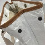 5 bolsos de hombro lavados bolso del papel de Kraft del encierro del botón de los colores (A081)