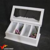 Затрапезная шикарная белая деревянная коробка Cutlery хранения организатора индикации