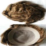 Вспомогательное оборудование 100% человеческих волос Рук-Связало тип основания кожи Toupee волос тонкий