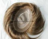 100% 사람의 모발 부속품은 머리 Toupee 얇은 피부 기초 작풍을 손 맸다