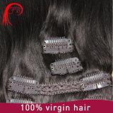 毛の拡張の毛のよこ糸中国製クリップの100%年のRemyのレースクリップ