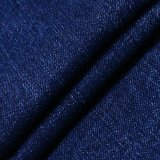 Blue Cotton Rayon Polyester Spandex Tissu Brossé Denim