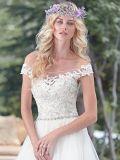 Tulle-Brautballkleid-Raupe-Spitze weg von der Schulter plus Größen-Hochzeits-Kleid S201782