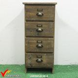 Governo di memoria di legno dell'oggetto d'antiquariato di stile del cottage dei 4 cassetti