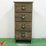 Gabinete de armazenamento de madeira da antiguidade do estilo da casa de campo de 4 gavetas