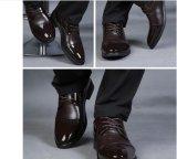 Ботинки дела офицера отрезока низкого уровня кожи Cowhide первого слоя людей черные зашнурованные