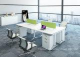 Tableau linéaire moderne de poste de travail de Seater de la forme 4 de meubles de bureau avec le diviseur d'écran (HF-YZL005C)
