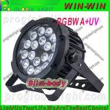 새로운 동위는 18PCS 5in1 Rgbaw 호리호리한 옥외 LED를 방수 처리할 수 있다