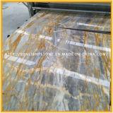 Сляб мрамора золотистого/голубого камня Polished естественной Италии для Countertop