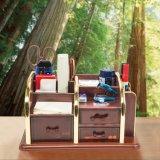 Organizador Desktop Multi-Function de madeira do armazenamento de 6 gavetas dos compartimentos 3