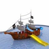 Plastic Equipment Amusement Pirate Ship jeu extérieure avec toboggan (HD-03401)