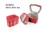 La caja de joyería de moda de cuero rojo de la PU