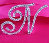 Diamantes de imitación francesa fuente de la letra A a la Z de la joyería del Pin del ramo de novia de la boda ramo de novia