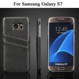 Geval van het Leer van Hotselling het Achter met de Groef van Kaarten voor Samsung S7