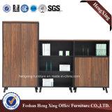 Meubles de bureau modernes de mélamine de portes de bibliothèque en verre en aluminium de bureau (HX-6M165)