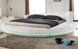 현대 침실 LED 빛 (HC558)를 가진 둥근 진짜 가죽 침대