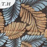 Tela de Upholstery do jacquard do Chenille com azul e as folhas grandes de Yellew