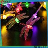 Luz solar da corda com libélula e borboleta