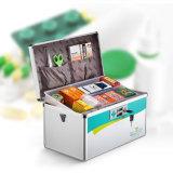 Organizador médico del rectángulo del kit de primeros auxilios del metal portable con la maneta