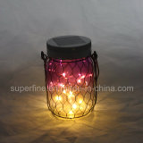 Waterproof Aisle Hanging Solar Warm White Spot Light com Black Metal Net