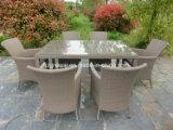 7 قطعات مستطيلة طاولة يتعشّى [ويكر] محدّد أثاث لازم خارجيّة