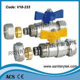 Valvola a sfera d'ottone con l'estremità adatta di compressione (V18-213)