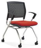 Silbernes Farben-Bein des Qualitäts-preiswertes faltendes Medium-rückseitiges Ineinander greifen-Stuhl-Schwarz-pp. mit Rädern