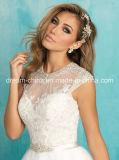Длина Свадебное платье блокированного рукава Jewel декольте до пола
