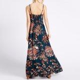 Les femmes de mode amincissent la robe de glissade de vêtements de Blackless estampée par fleur