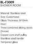 Puerta simple de acero combinada tres de la ducha de la puerta deslizante (BL-F3009)