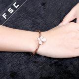 Pulsera plateada oro de la mariposa del encanto del diamante de la CZ de la joyería del Fsc Rose de la manera