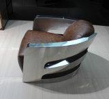 Cadeira do braço do aço inoxidável, cadeira do hotel, cadeira do couro genuíno de Brown única, cadeira Yh-212 do ângulo