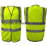 Chaleco reflexivo del Workwear de la seguridad del acoplamiento con el atascamiento del negro y cuatro cintas reflexivas