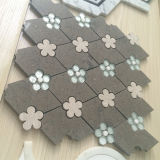 Rhombus de Brown do Travertine com a telha de mármore Waterjet do mosaico da mini flor de pedra de vidro