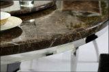 Mesa de jantar em aço inoxidável de mármore redondo com centro rotativo