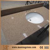 A vaidade artificial Multicolor de quartzo de Brown cobre a bancada do dissipador dobro do banheiro