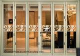 Новый Н тип застекленная двойником алюминиевая дверь складчатости с стеклом