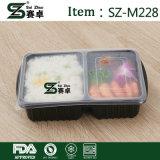 Устранимая прямоугольная 2 сгущенная отсеками коробка обеда быстро-приготовленное питания с крышкой для оптовой продажи