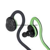Беспроволочные наушники в шлемофоне Bluetooth спорта уха удобном для нот (Черн-зеленого)