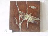 Arrêt de libellule sur les branchements de la peinture s'arrêtante de toile