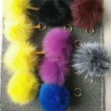 Pompoms genuini multicolori della pelliccia del coniglio di Keychain della sfera sveglia lanuginosa