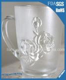 copo cinzelado 500ml do vidro de Rosa