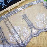 Merletto netto di nylon della maglia di immaginazione della guarnizione del ricamo del poliestere del merletto del commercio all'ingrosso 20cm della fabbrica di larghezza del ricamo del filetto di riserva dell'oro per l'accessorio degli indumenti & le tessile domestiche