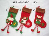 "22 ""H Santa, Snowman e Elf Christmas Decoration Stocking, 3 Asst"