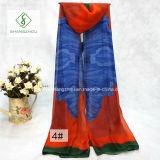 Lange Manier Dame Silk Scarf met Grote Bloem Afgedrukte Sjaal